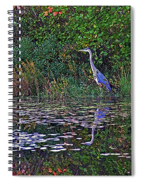 Great Blue Heron In Autumn Spiral Notebook