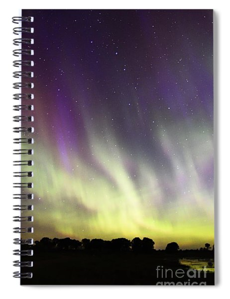 Green And Purple Fire In The Sky Spiral Notebook