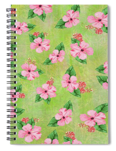 Green Batik Tropical Multi-foral Print Spiral Notebook