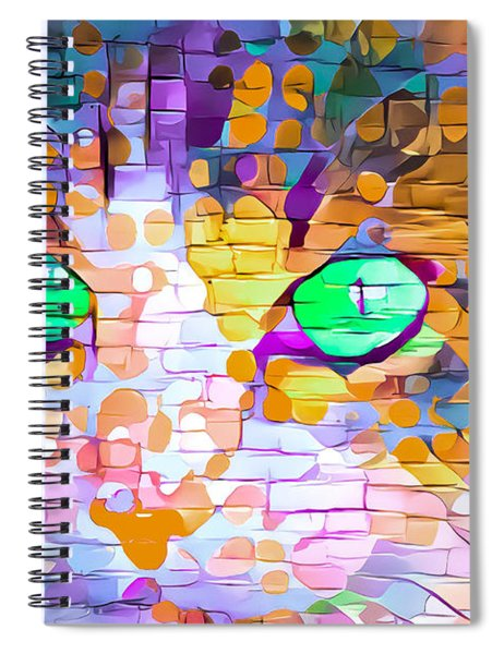 Green Eyed Cat Abstract Spiral Notebook