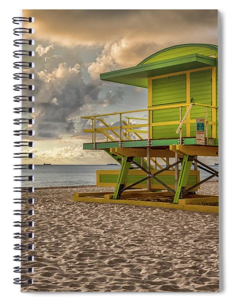 Spiral Notebook featuring the photograph Green Lifeguard Stand by Alison Frank