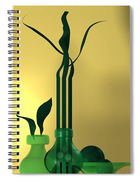 Green Still Life Over Golden Background Spiral Notebook