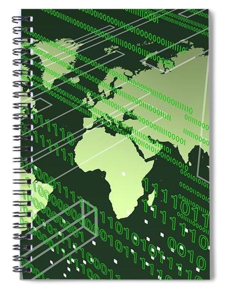 Greenish Worldmap In Tech Future. Spiral Notebook