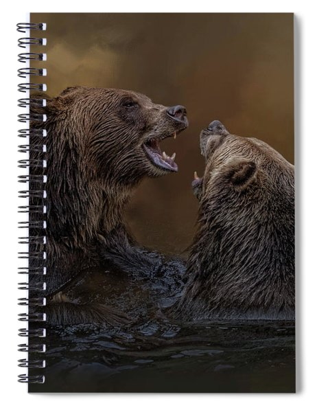 Grizzlies At Play Spiral Notebook