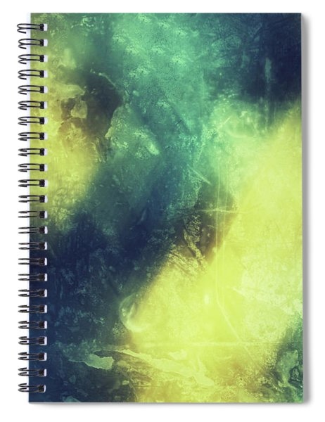 Grungy Colorful Watercolor Abstract Art With Muted Yellows, Blues And Greens Spiral Notebook