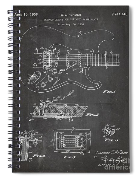 Guitar Tremelo Patent, Fender Tremelo Art - Chalkboard Spiral Notebook