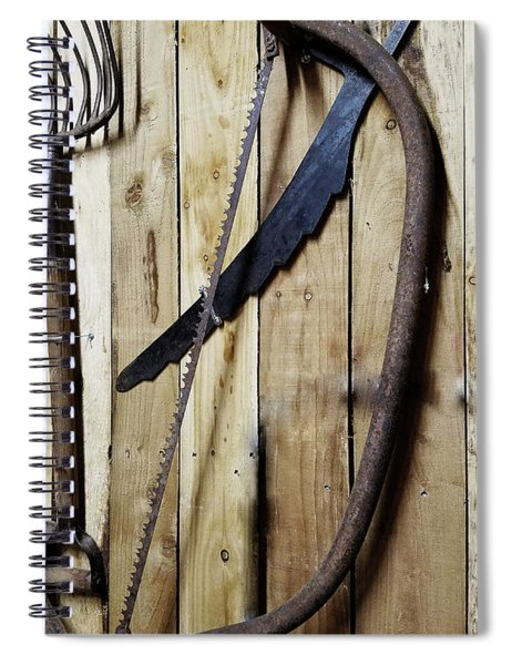 Hack Saw On Barn Wall Spiral Notebook