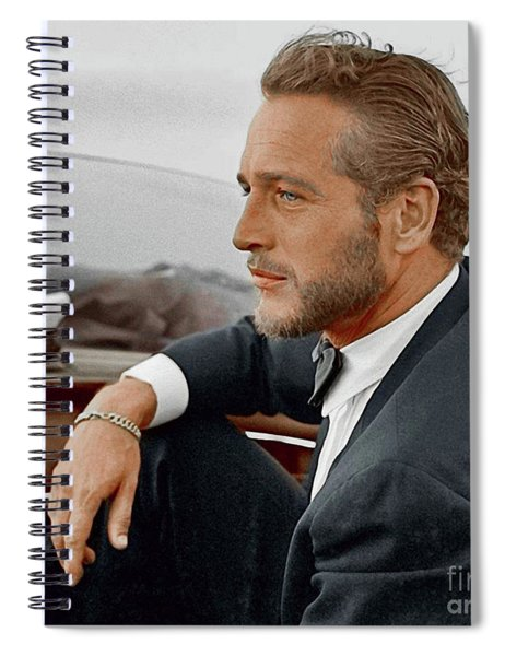 Hand Colored Picture Of Paul Newman Spiral Notebook