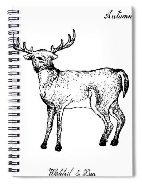 Hand Drawn Of Autumn Whitetail Deer On White Background Spiral Notebook