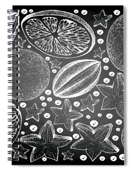 Hand Drawn Of Carambola And Lime Fruits On Chalkboard Spiral Notebook