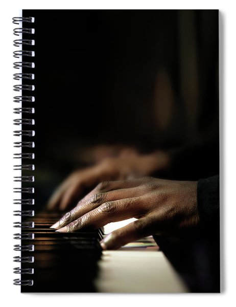 Hands Playing Piano Close-up Spiral Notebook