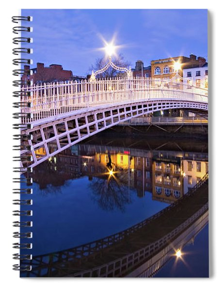 Ha'penny Bridge At Blue Hour Spiral Notebook by Barry O Carroll