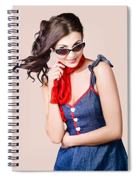 Happy Smiling Young Pinup Girl In Rockabilly Style Spiral Notebook