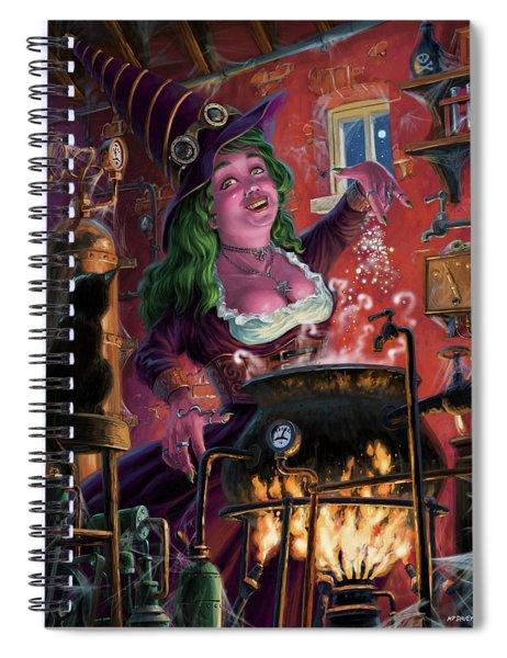 Spiral Notebook featuring the digital art Happy Steam Punk Witch by Martin Davey
