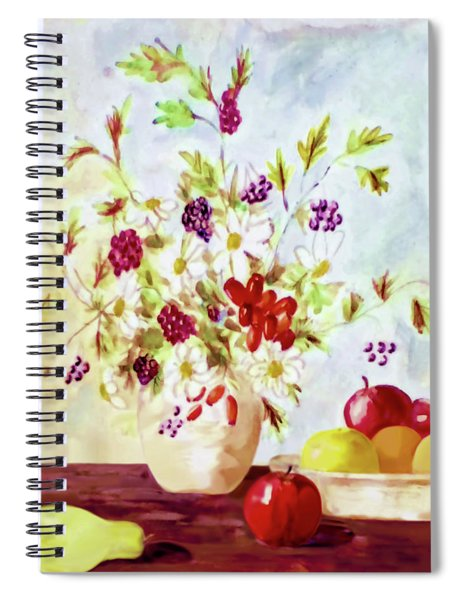 Harvest Time-still Life Painting By V.kelly Spiral Notebook by Valerie Anne Kelly