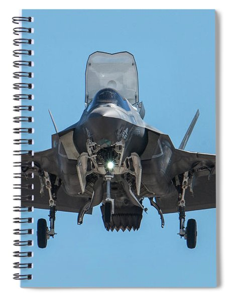 Head-on F-35b Stealth Fighter Spiral Notebook