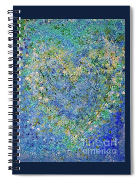 Heart In Blue Green And Yellow Spiral Notebook