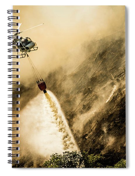 Helicopter Dropping Water On A Forest Fire Spiral Notebook