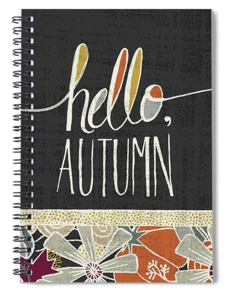 Hello Autumn Fall Art Black Background Spiral Notebook