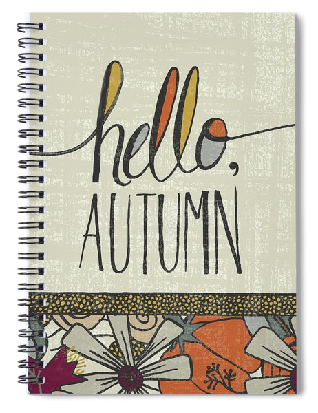 Hello Autumn Fall Art Cream Background Spiral Notebook
