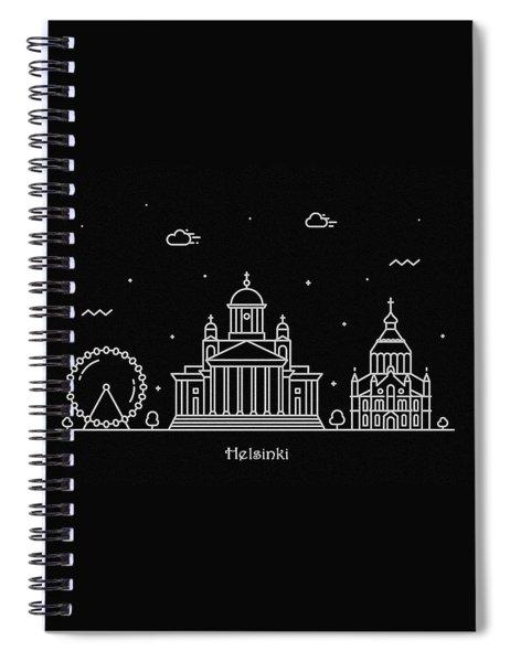 Helsinki Skyline Travel Poster Spiral Notebook