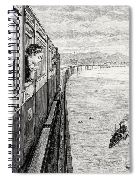 Her Majesty Queen Victoria Crossing Tay Bridge, Dundee, 1879 Spiral Notebook