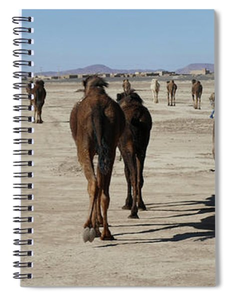 Herd Of Camels Crossing The Highway Near  Rissani Spiral Notebook