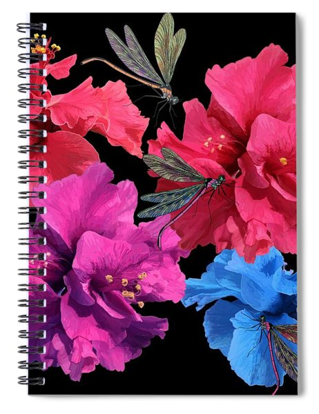 Hibiscus Dragonfly Spiral Notebook