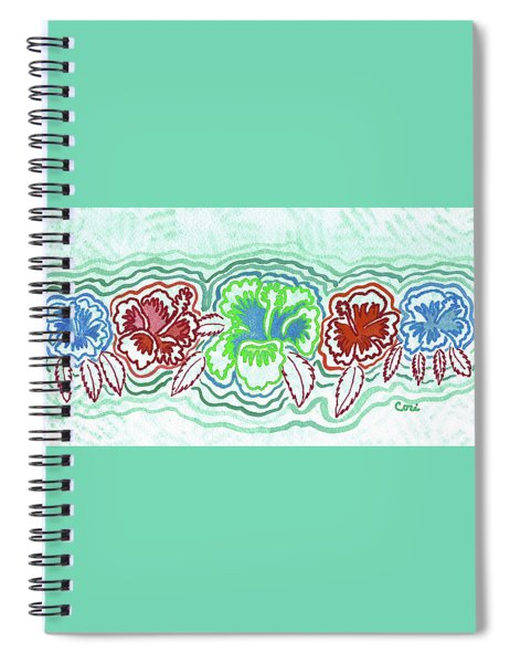 Hibiscus Green Spiral Notebook