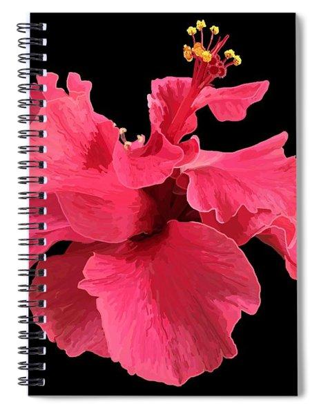 Hibiscus Pink In Black Spiral Notebook