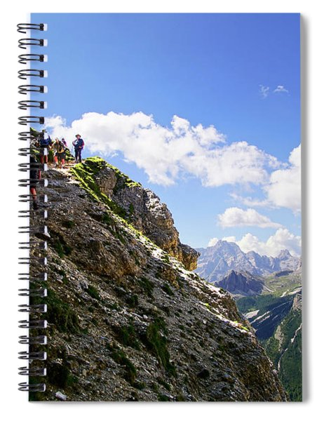 Hikers On Steep Trail Up Monte Piana Spiral Notebook