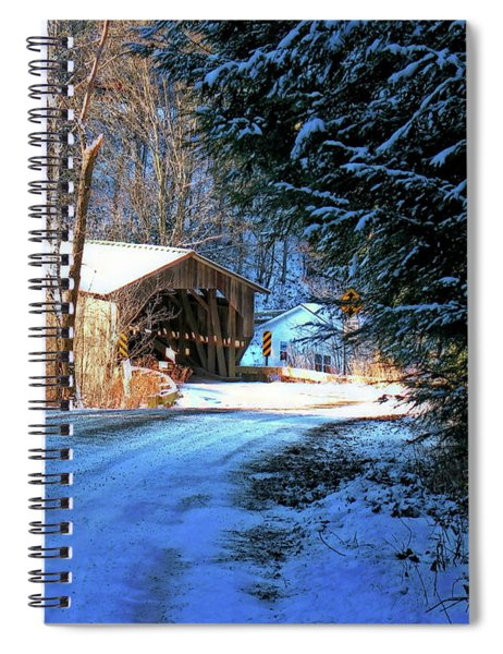 Spiral Notebook featuring the photograph Historic Grist Mill Covered Bridge by Patti Whitten