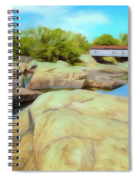 Historic Jay Covered Bridge Spanning The Ausable River In The Ad Spiral Notebook