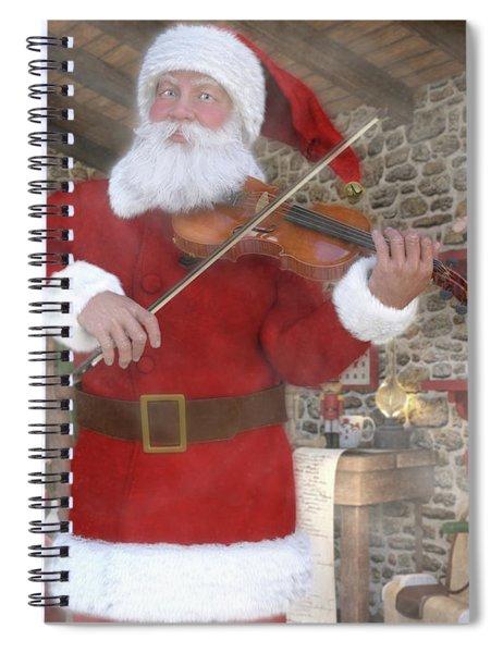 Holiday Santa Playing Violin Spiral Notebook