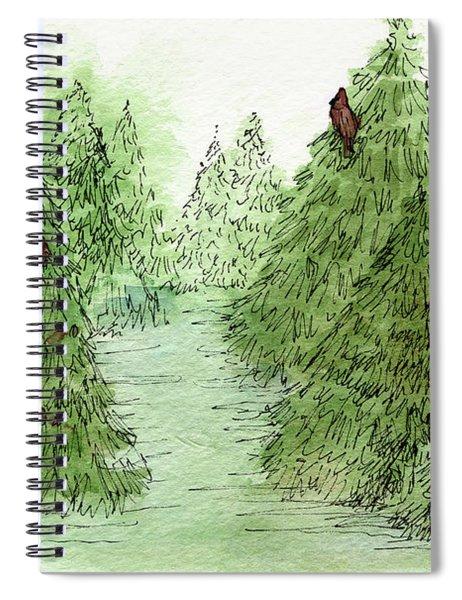 Holiday Trees Woodland Landscape Illustration Spiral Notebook