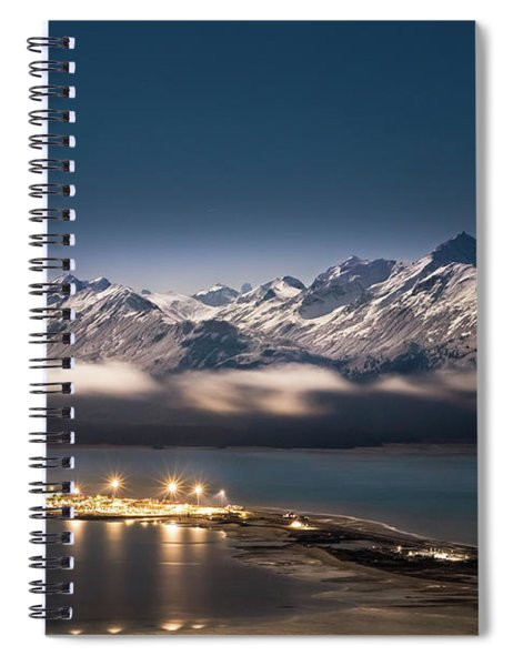 Homer Spit With Moonlit Mountains Spiral Notebook