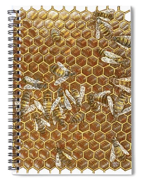 Honey Bees Spiral Notebook