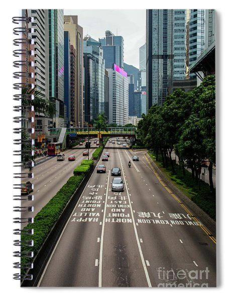 Hong Kong One Of The Main Roads Of The Chinese City With Light Traffic. Spiral Notebook