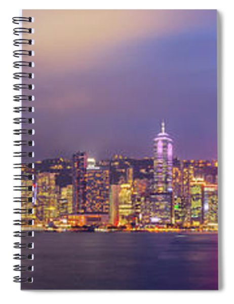 Hong Kong Skyline Super Panorama At Night Spiral Notebook