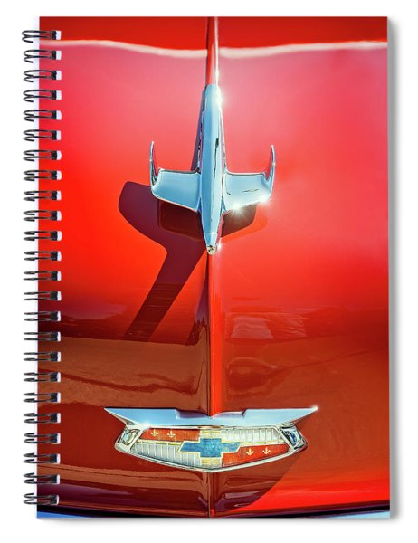 Hood Ornament On A Red 55 Chevy Spiral Notebook