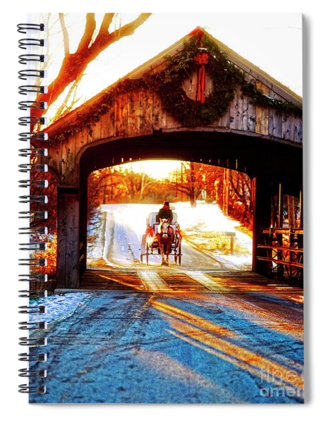 Horse Drawn Carriage Covered Bridge Long Grove Il 014060036 Spiral Notebook