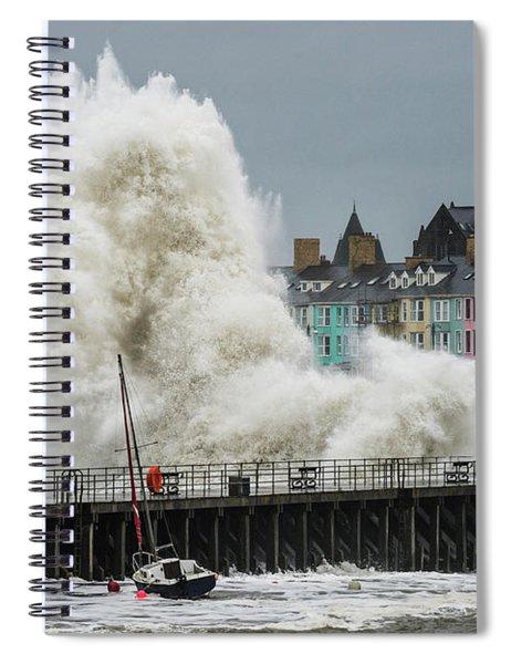Huge Wave Hitting Aberystwyth Seafront Spiral Notebook