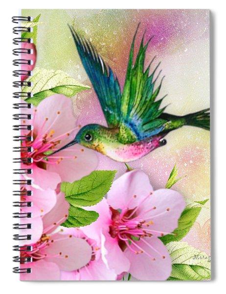 Hummingbird On Pink Blossom Spiral Notebook