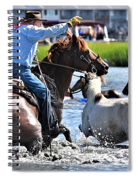 Hustling A Stray Wild Horse - Chincoteague Pony Run Spiral Notebook