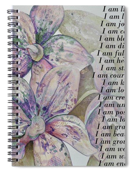I Am...positive Affirmation Art In Lavendar And Rose Spiral Notebook