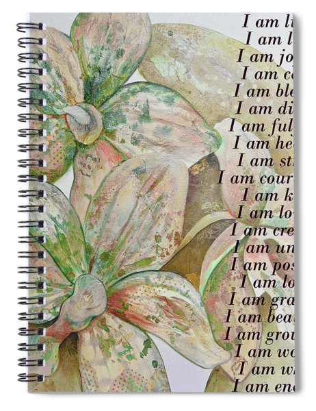 I Am...positive Affirmation In Coral And Green Spiral Notebook