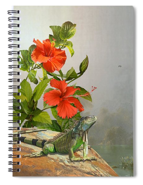 Iguana And Hibiscus Flowers Spiral Notebook