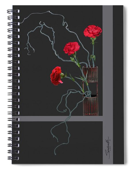 Red Carnations And Bamboo Vase Spiral Notebook