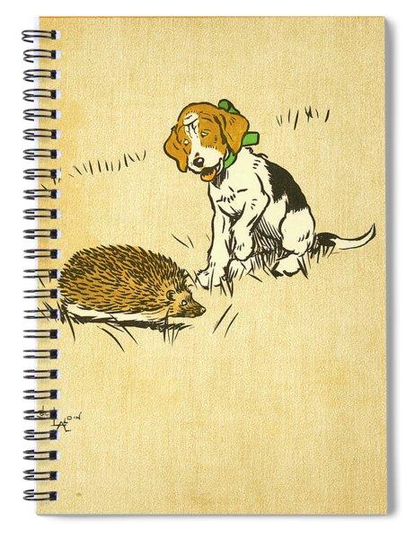 Puppy And Hedgehog, Illustration Of Spiral Notebook