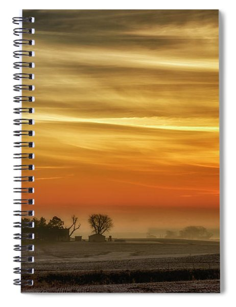 Indiana Sunrise With Mist Spiral Notebook